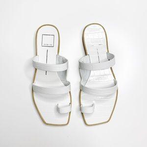 Dolce Vita Isala Sandals Croc Embossed White NWT